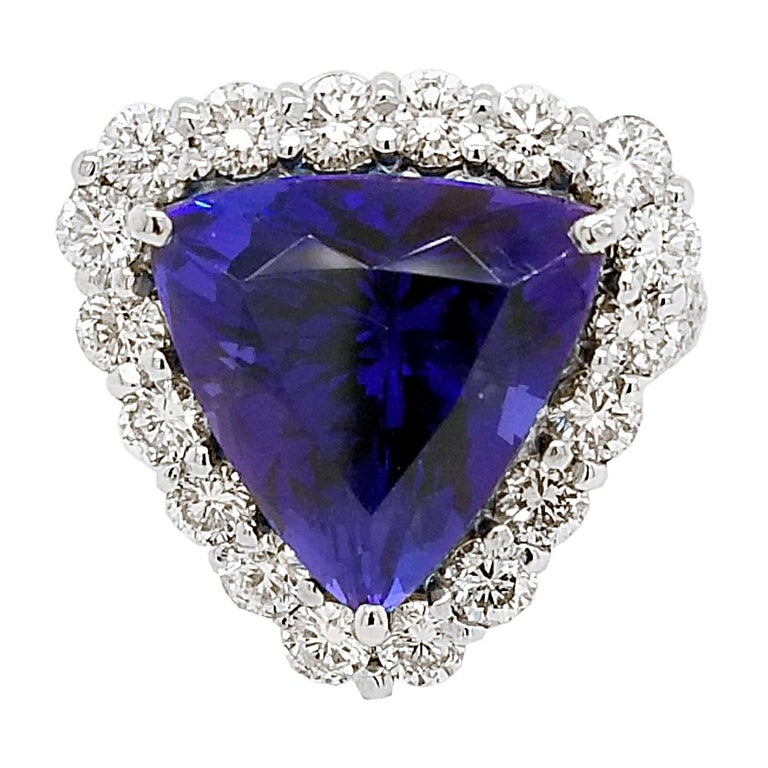 GIA 12.40 Carat Trillion Tanzanite Split Shank Pave Set Ring with Halo For Sale