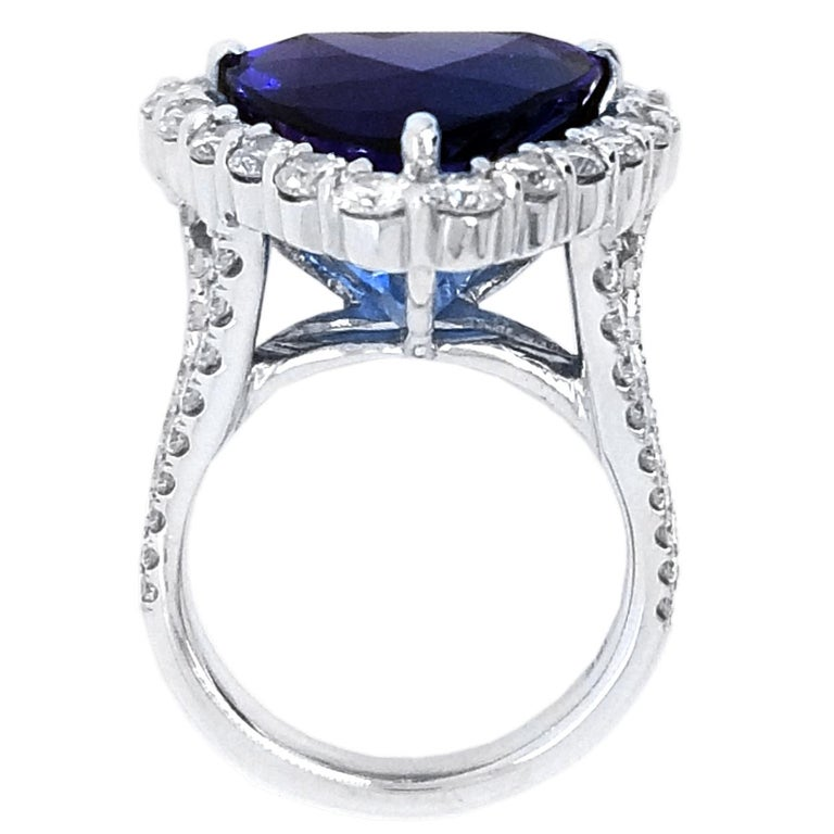 Trillion Cut GIA 12.40 Carat Trillion Tanzanite Split Shank Pave Set Ring with Halo For Sale