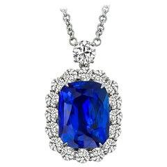 GIA 12.43 Carat Ceylon Sapphire Diamond Platinum Pendant Necklace