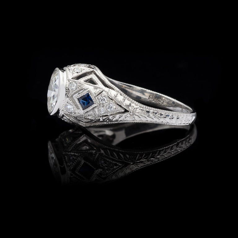 Art Deco GIA 1.25 carat I/SI1 Diamond Sapphire Engagement Ring For Sale