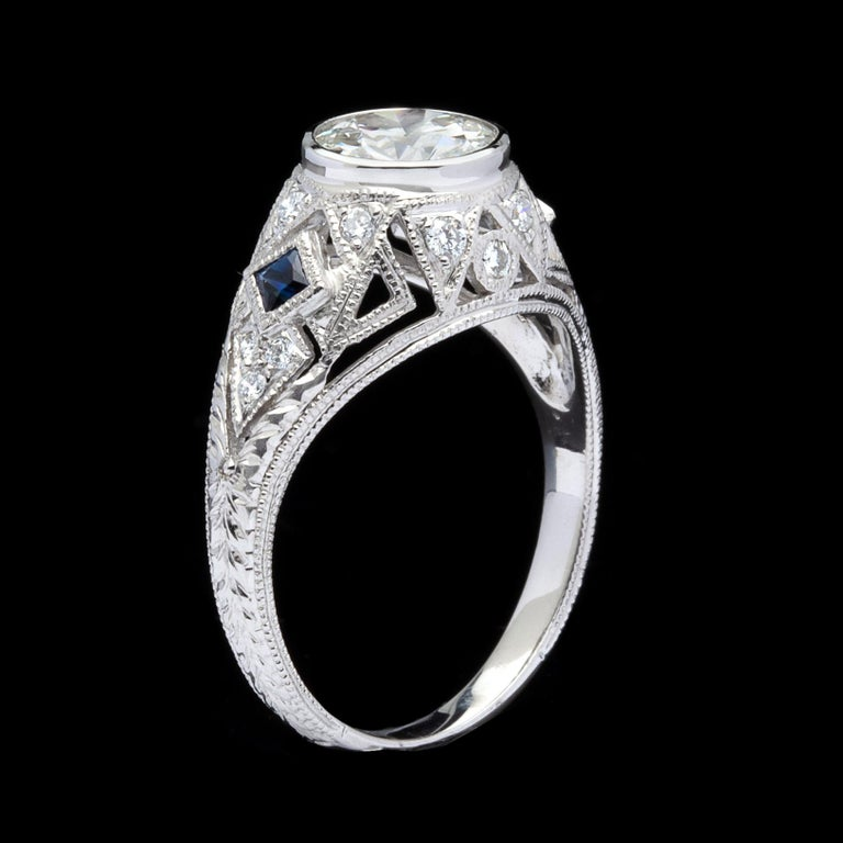 Round Cut GIA 1.25 carat I/SI1 Diamond Sapphire Engagement Ring For Sale