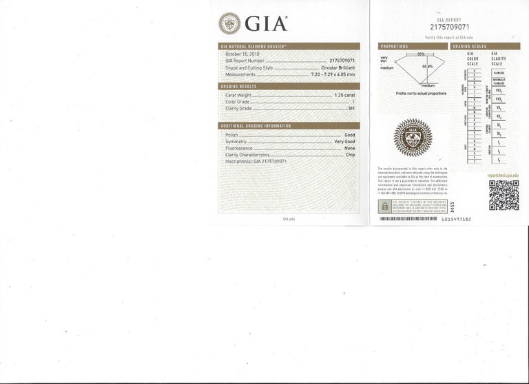 GIA 1.25 carat I/SI1 Diamond Sapphire Engagement Ring In Excellent Condition For Sale In San Francisco, CA