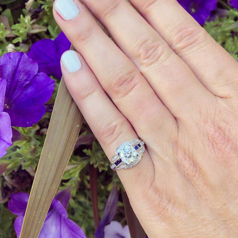 Round Cut GIA 1.26 carat G/VVS2 Diamond & Sapphire Engagement Ring For Sale