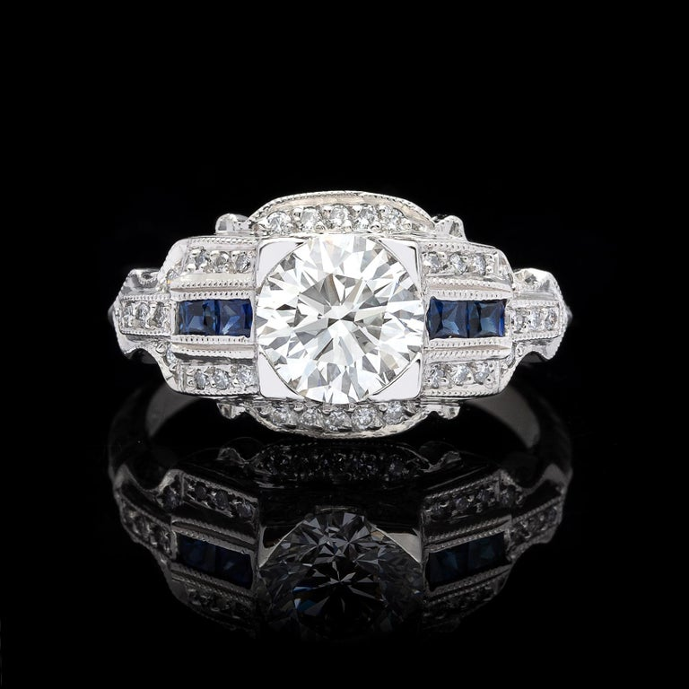 Art Deco GIA 1.26 carat G/VVS2 Diamond & Sapphire Engagement Ring For Sale