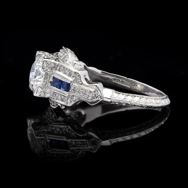 GIA 1.26 carat G/VVS2 Diamond & Sapphire Engagement Ring In Excellent Condition For Sale In San Francisco, CA