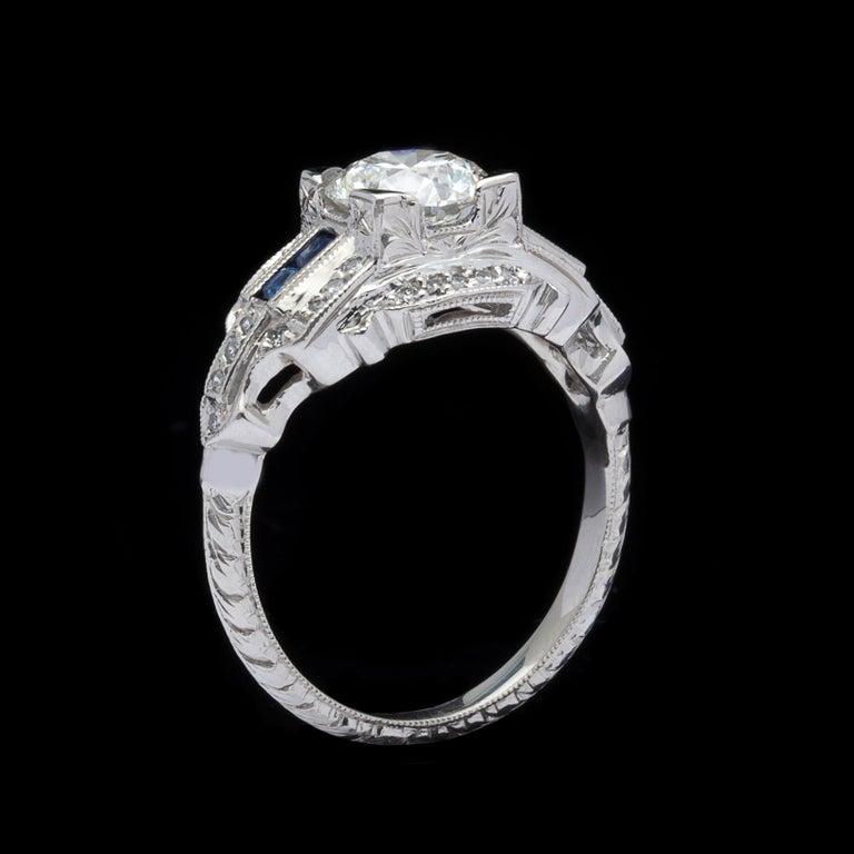 Women's GIA 1.26 carat G/VVS2 Diamond & Sapphire Engagement Ring For Sale
