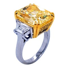 GIA 12.63Ct Fancy Yellow Radiant Diamond 3-Stone Platinum Engagement Ring