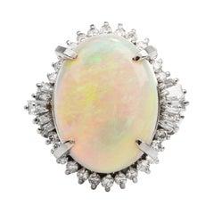 GIA 12.80 Carats Opal Diamond Platinum Halo Cocktail Ring