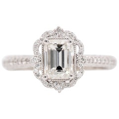 GIA 1.30 Carat Emerald Cut Diamond Fancy Halo Engagement Ring