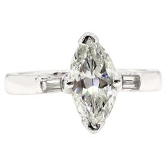 GIA 1.31 Carat Classic Marquise Cut Diamond 3-Stone Wedding Plat/WG Ring