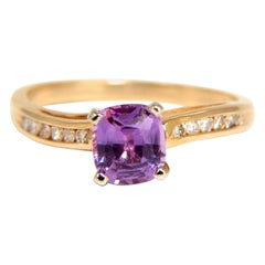 GIA 1.33 Carat Natural No Heat Pink Sapphire Diamonds Ring Vivid Unheated