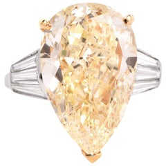 GIA 13.41 Carat Natural Fancy Pear Diamond with Baguette Platinum and Gold Ring