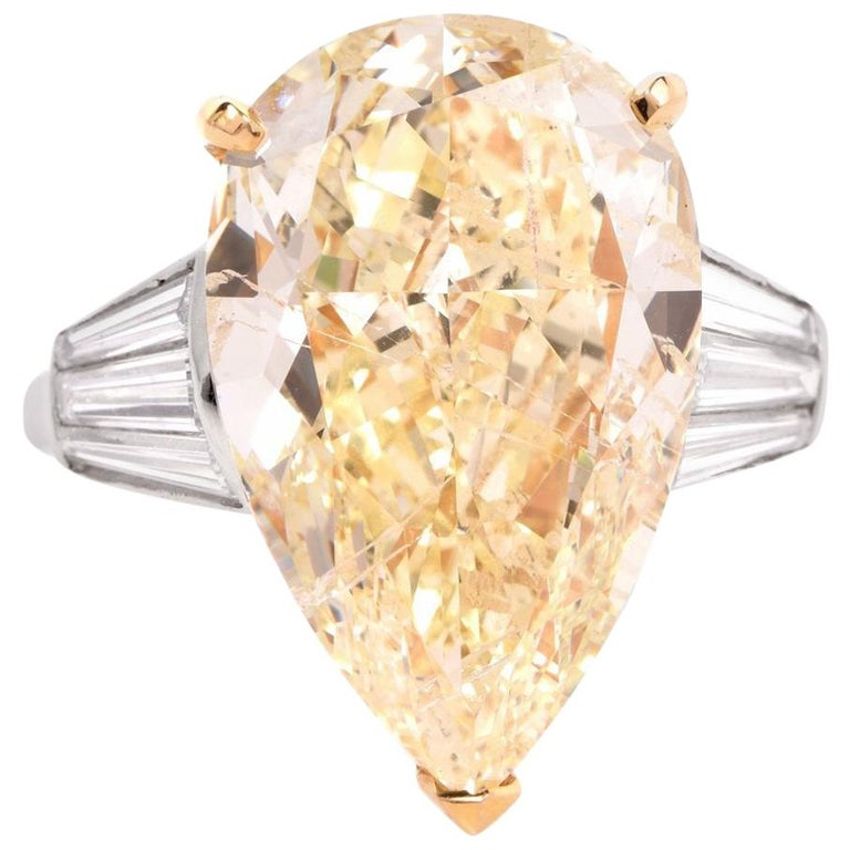 GIA 13.41 Carat Natural Fancy Pear Diamond with Baguette Platinum and Gold Ring For Sale