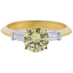 GIA 1.37 Carat Fancy Yellow Diamond Tiffany & Co. Gold Platinum Engagement Ring