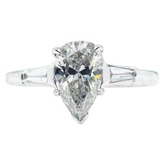GIA 1.39 Carat Solitaire Pear Shaped Diamond Engagement Wedding Platinum Ring