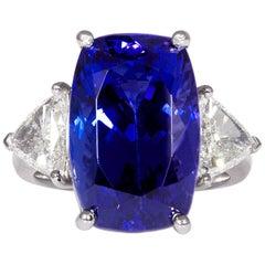 GIA 14.0ct Cushion Tanzanite Deep AAA Blue Violet Diamond Platinum Trilogy Ring