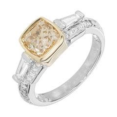 GIA 1.41 Carat Brown Yellow Cushion Diamond Gold Platinum Engagement Ring