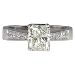 GIA 1.42 Carat Estate Vintage Radiant Cut Diamond Solitaire Engagement Gold Ring