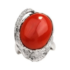 GIA 14.25ct Natural Red Coral Diamond Platinum Bypass Cocktail Ring