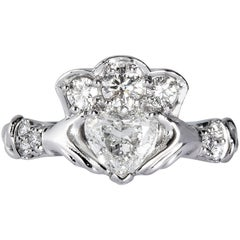 GIA 1.43 Carat Estate Vintage Heart Diamond Claddagh Wedding Plat Ring