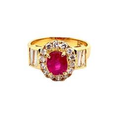 GIA 1.43ct Natural Burma No Heat Ruby 18k Yellow Gold Ring