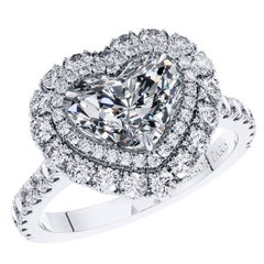 GIA 1.46 Carat Type 2A Heart Shaped Double Halo Diamond Engagement Ring Platinum