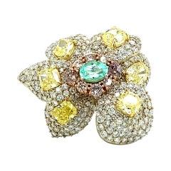 GIA 14.71 Ct Paraiba & Fancy Yellow Diamond Flower Ring