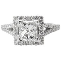 GIA 1.48 Carat Princess Diamond Engagement Wedding White Gold Ring