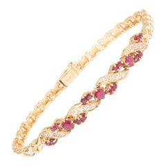 GIA 14k Gold Ruby and Diamond Bracelet
