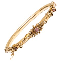 GIA 14k Gold, Ruby and Seed Pearl Bracelet