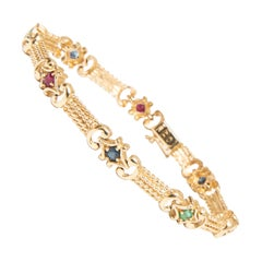 GIA 14k Gold Sapphire Ruby and Emerald Gold Strap Bracelet