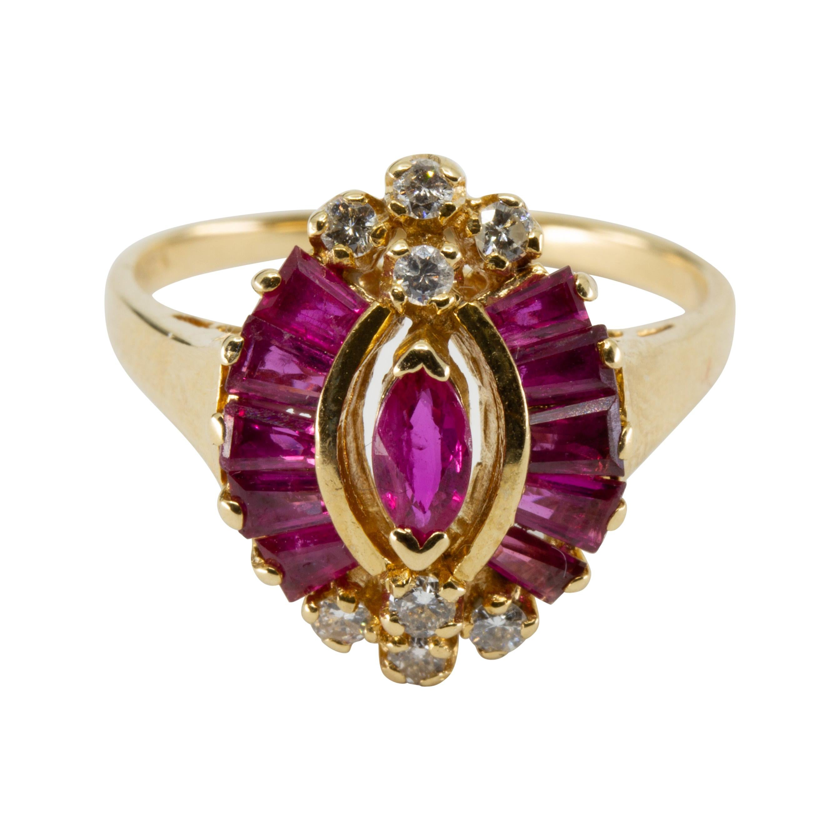 GIA 14k Yellow Gold Diamond and Ruby Ring