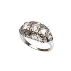 GIA 14kt White Gold and Diamond Ring, circa 1950