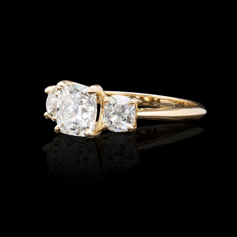 GIA 1.50 Carat Cushion Cut 3-Stone Engagement Ring In Excellent Condition For Sale In San Francisco, CA