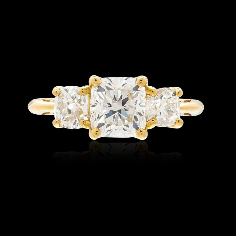 GIA 1.50 Carat Cushion Cut 3-Stone Engagement Ring For Sale 1