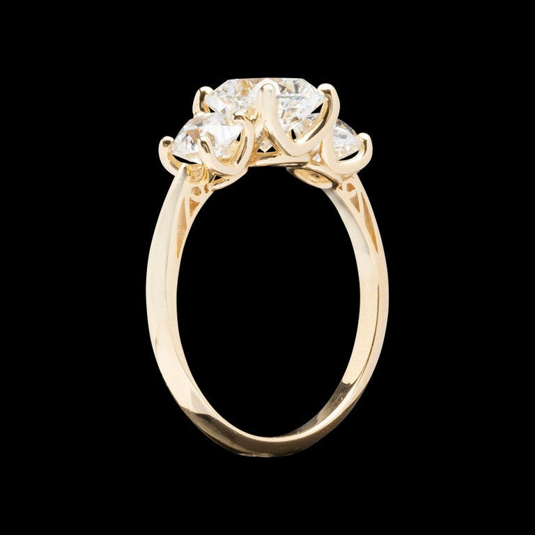 GIA 1.50 Carat Cushion Cut 3-Stone Engagement Ring For Sale 3