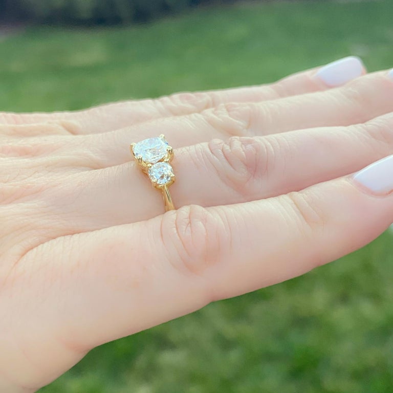 GIA 1.50 Carat Cushion Cut 3-Stone Engagement Ring For Sale 4