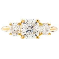 GIA 1.50 Carat Cushion Cut 3-Stone Engagement Ring