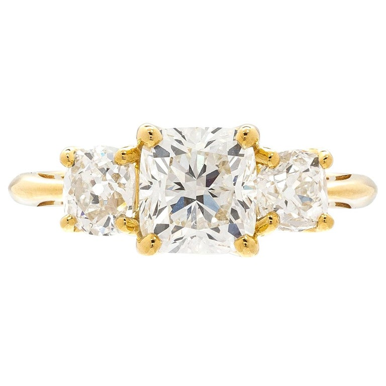 GIA 1.50 Carat Cushion Cut 3-Stone Engagement Ring For Sale