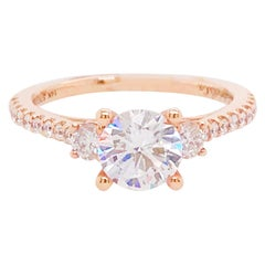 GIA 1.50 Carat Diamond Three-Stone Engagement Ring, Round Diamond Rose Gold Ring
