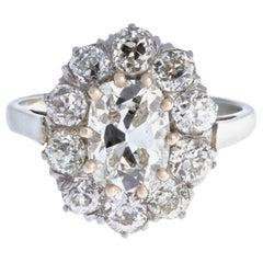 GIA 1.52 Antique Cushion Cut Diamond 18 Karat White Gold Ring