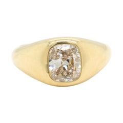 GIA 1.52 Carat Cushion Cut Diamond 18 Karat Gold Ring