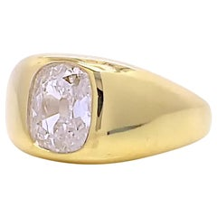 GIA 1.52 Carat Old Mine Cut Diamond Gold Gypsy Solitaire Engagement Ring