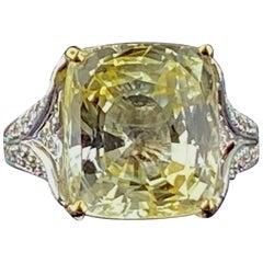 Gia 15.22 Carat Yellow Sapphire and Diamond Ring in 18 Karat White Gold