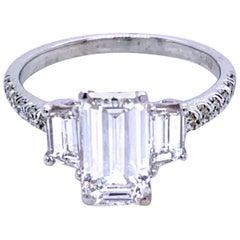 GIA 1.53 Carat F/SI1 Emerald Cut Diamond 18 Karat Pave Set Shank Engagement Ring