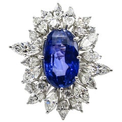 GIA 15.49 Carat Blue Sapphire Diamond Engagement Anniversary Platinum Ring