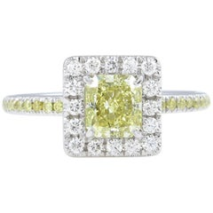 GIA 1.55 Carat Fancy Yellow Radiant Diamond Engagement Wedding Platinum Ring