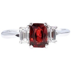 GIA 1.55ct Natural No-Heat Orangy Red Spinel and Diamond 3-Stone Vintage Ring