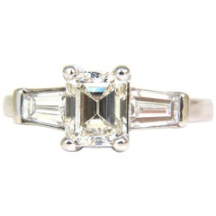 GIA 1.56 Carat Brilliant Emerald Cut Diamond Ring J/VVS2 Solitaire with Accents