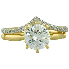 GIA 1.56 Carat Round Diamond 8 Prong Solitaire and Diamond V Band Wedding Set